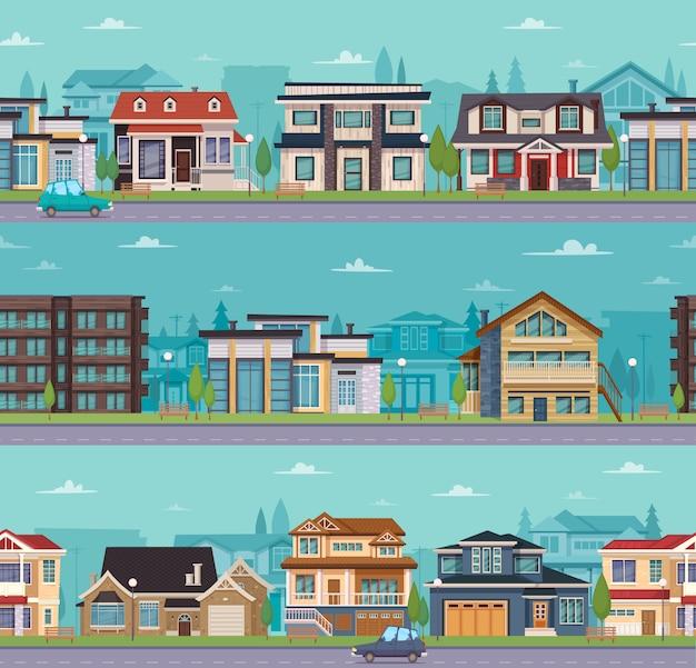 Bezszwowy pejzaż miejski szablon z podmiejskimi domami i chałupami Darmowych Wektorów