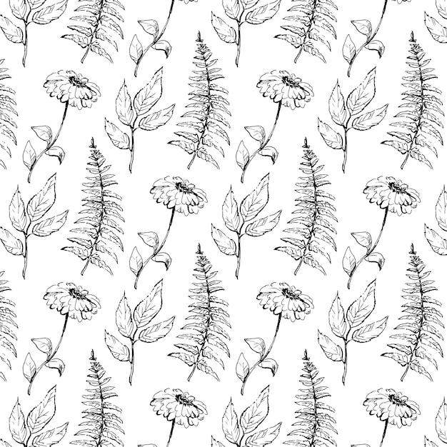 Bezszwowy Rocznika Wzór Z Wiktoriańskim Bukietem Czarne Kwiaty. Róże Ogrodowe, Tulipany, Delphinium, Petunia. Monochromia. Premium Wektorów