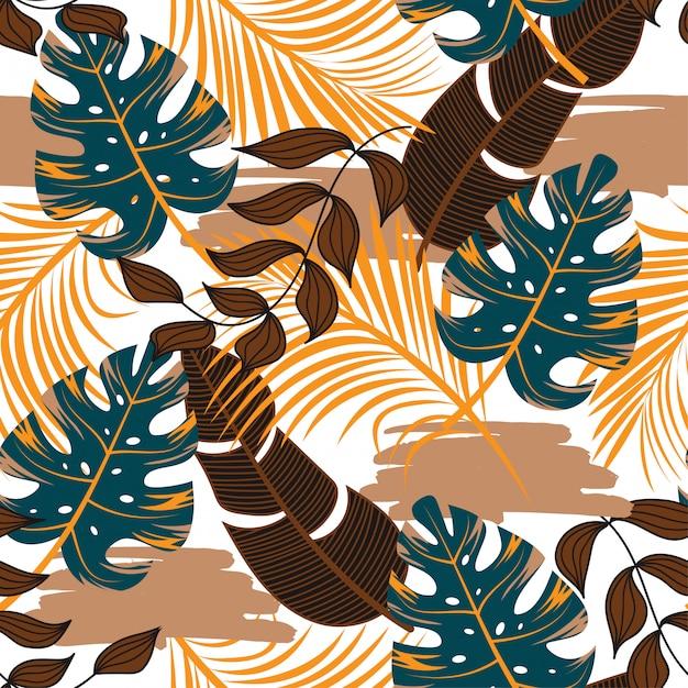 Bezszwowy Tropikalny Wzór Z Jaskrawymi Błękitnymi I Brown Liśćmi I Roślinami Premium Wektorów