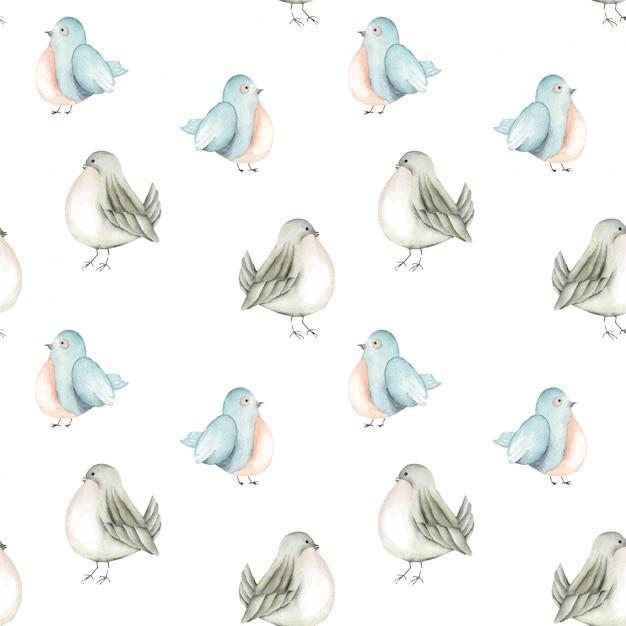 Bezszwowy wzór akwarela błękitni ptaki Premium Wektorów