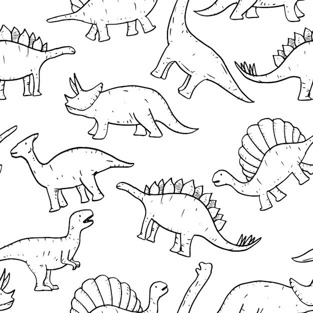 Bezszwowy Wzór Ręka Rysujący Wektorowy Doodle Dinosaura. Premium Wektorów
