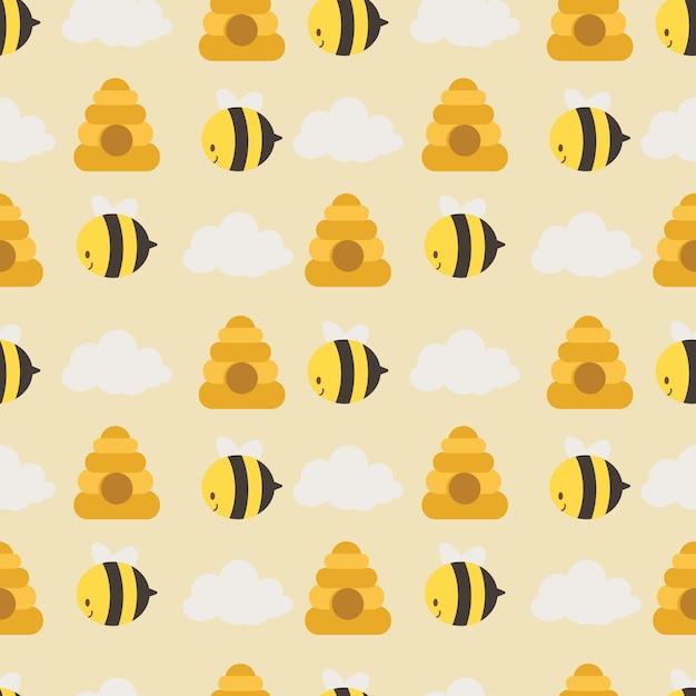 Bezszwowy Wzór śliczna Pszczoła, Plaster Miodu I Biel Chmurniejemy Premium Wektorów
