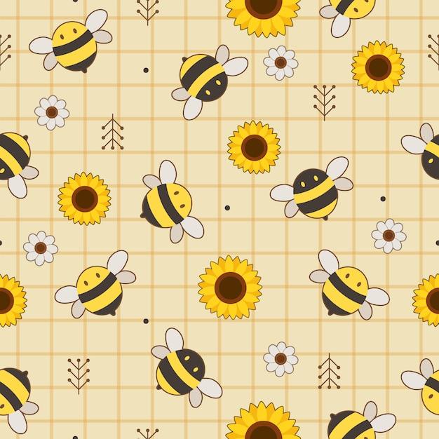 Bezszwowy Wzór śliczna Pszczoła, Słonecznik I Biały Kwiat Na żółtym Tle. Premium Wektorów