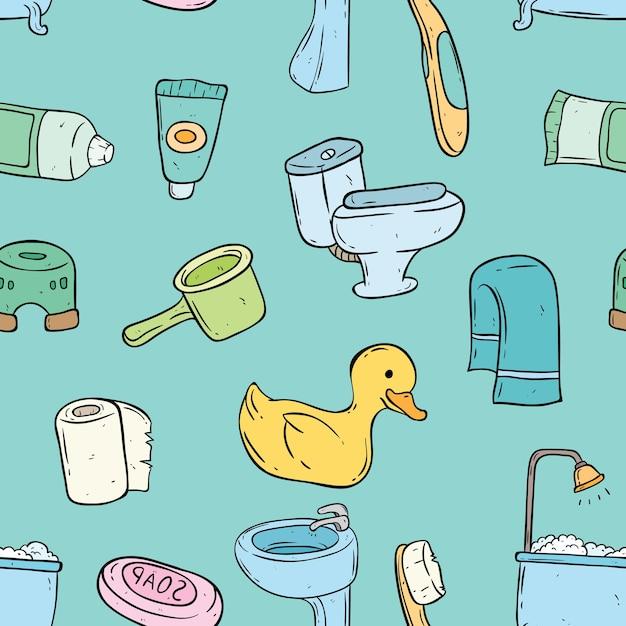 Bezszwowy Wzór śliczni łazienka Elementy Z Doodle Stylem Premium Wektorów
