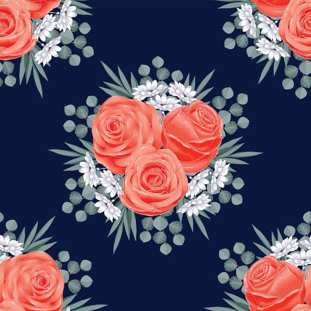 Bezszwowy Wzór Wzrastał Kwiaty Abstrakcjonistycznych. Wektorowego Ilustracyjnego Suchego Akwareli Ręki Rysunku Styl. Premium Wektorów