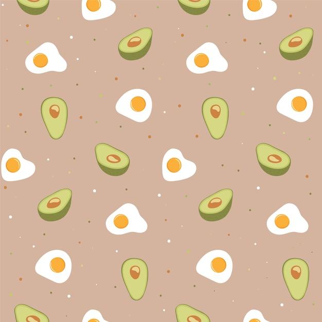 Bezszwowy wzór z jajkiem i avocado. Premium Wektorów