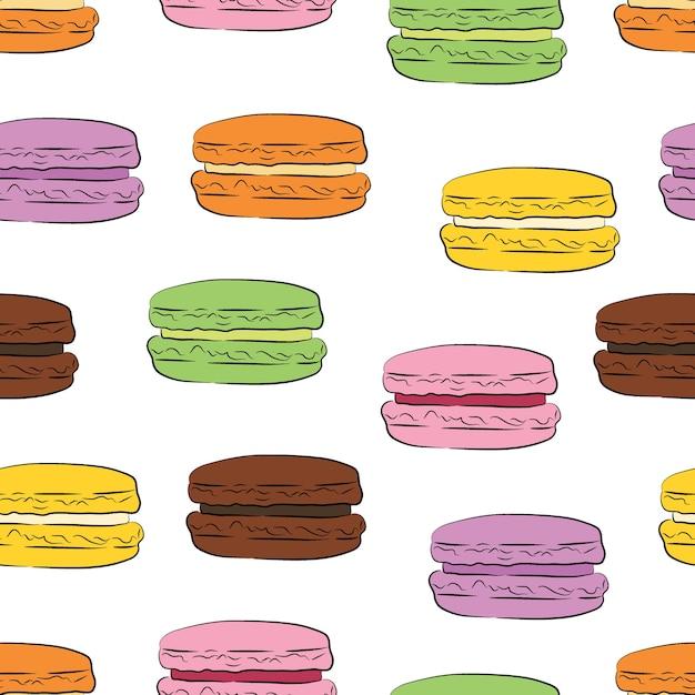 Bezszwowy Wzór Z Kolorowymi Macaroon Ciastkami. Premium Wektorów