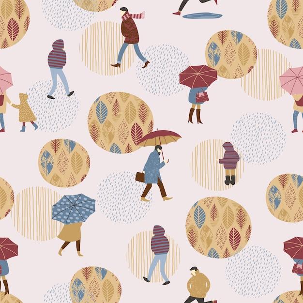 Bezszwowy wzór z ludźmi w deszczu. Premium Wektorów