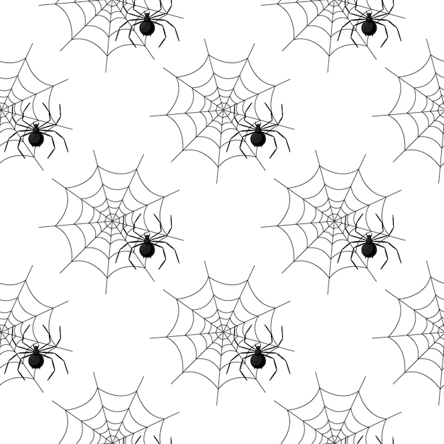 Bezszwowy wzór z pająk siecią na halloween Premium Wektorów
