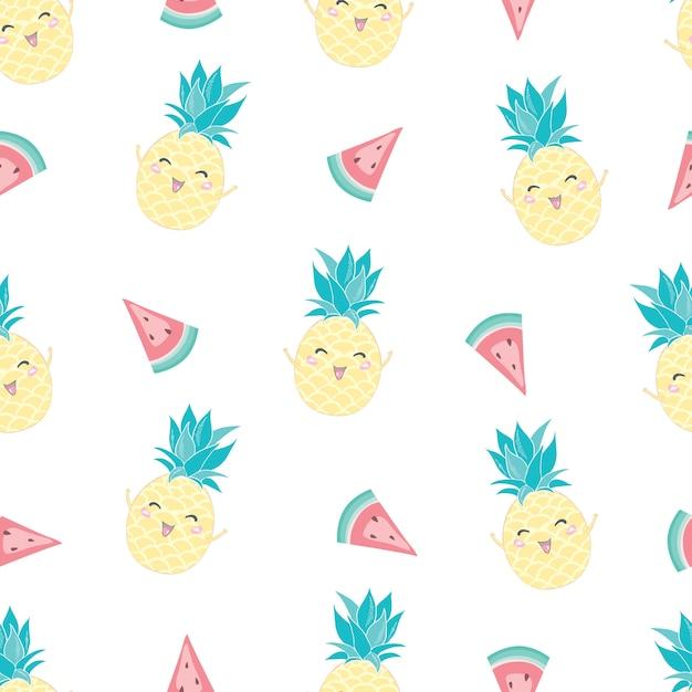 Bezszwowy Wzór Z ślicznym Ananasem I Arbuzem Premium Wektorów