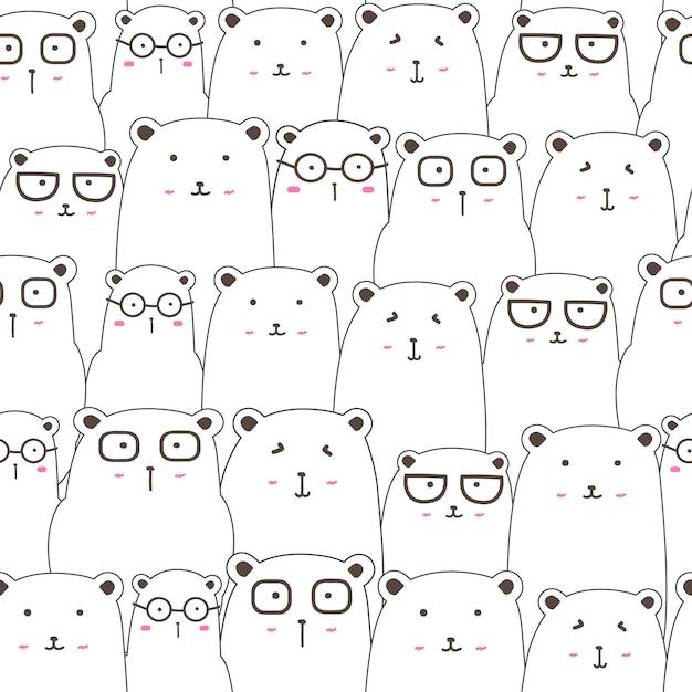 Bezszwowy Wzór Z ślicznym Niedźwiadkowym Tłem, śliczna Niedźwiedzia Doodle Sztuka Dla Dzieciaków Premium Wektorów