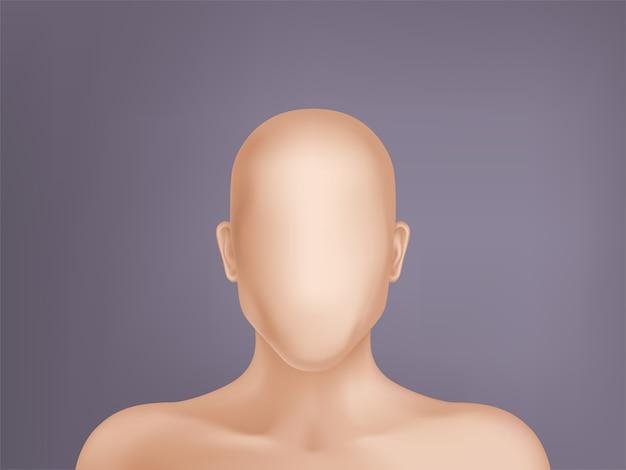 Beztwarzowy model człowieka, pusty manekin, część ciała męskiego lub żeńskiego na białym tle. Darmowych Wektorów