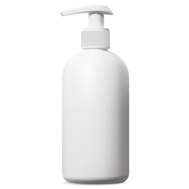 Biała Butelka Z Dozownikiem. Opakowanie Kosmetyczne Z Pompką Do Szamponu, Pianki Do Golenia Lub żelu Pod Prysznic Do Ciała Premium Wektorów