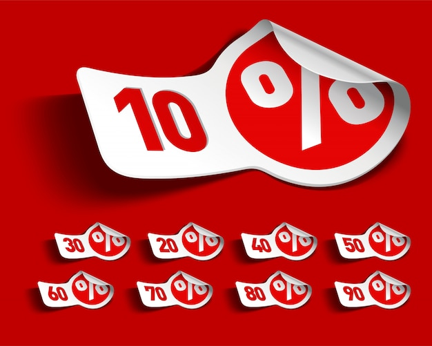 Biała I Czerwona Sprzedaży Promocja Przylepia Etykietkę Ilustrację Premium Wektorów