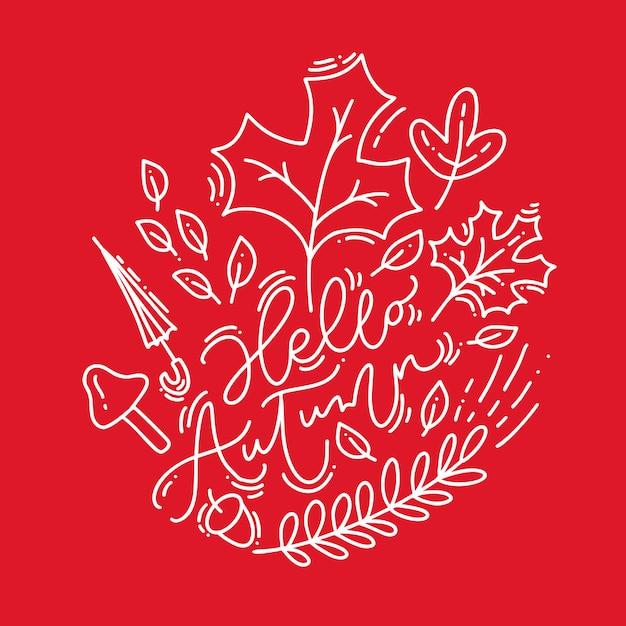 Biała kaligrafia napis tekst witaj jesień na czerwonym tle Premium Wektorów