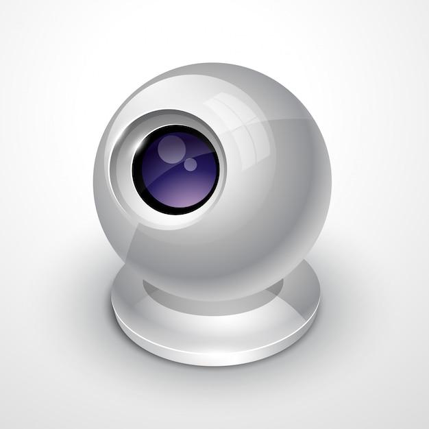 Biała kamera internetowa Premium Wektorów