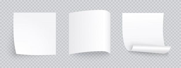 Biała Kartka Papieru Z Innym Cieniem. Pusty Post Na Wiadomość, Listę Zadań, Pamięć. Zestaw Karteczek Na Przezroczystym Tle. Premium Wektorów