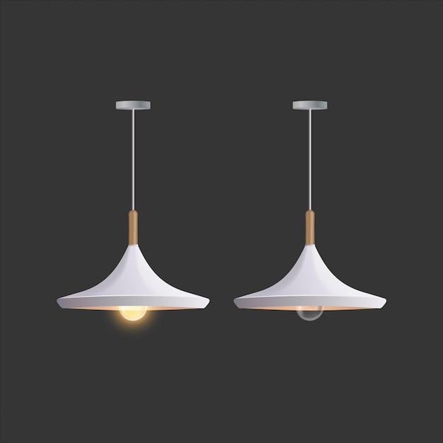 Biała Lampa Sufitowa. Lampa Jest Izolowana Na Szarym Tle. Premium Wektorów