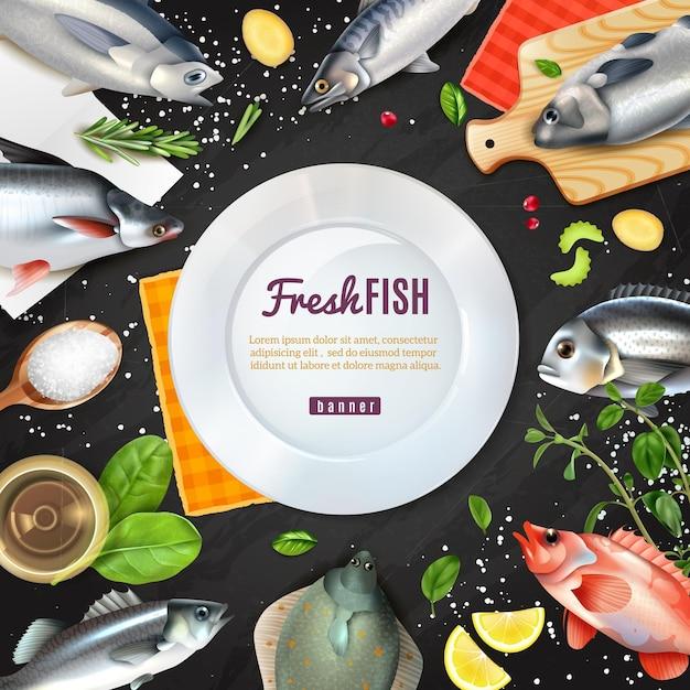 Biała Okrągła Rama Z Odmianami Ryb Do Gotowania Z Przyprawami Na Czarno Darmowych Wektorów