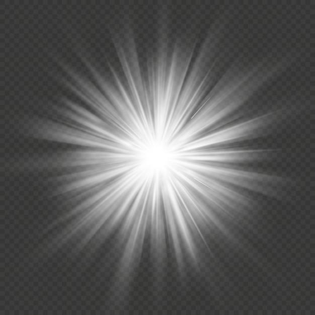 Biała Poświata Rozbłysk Gwiazdy Rozbłysk Wybuch Przezroczysty Efekt świetlny. Premium Wektorów