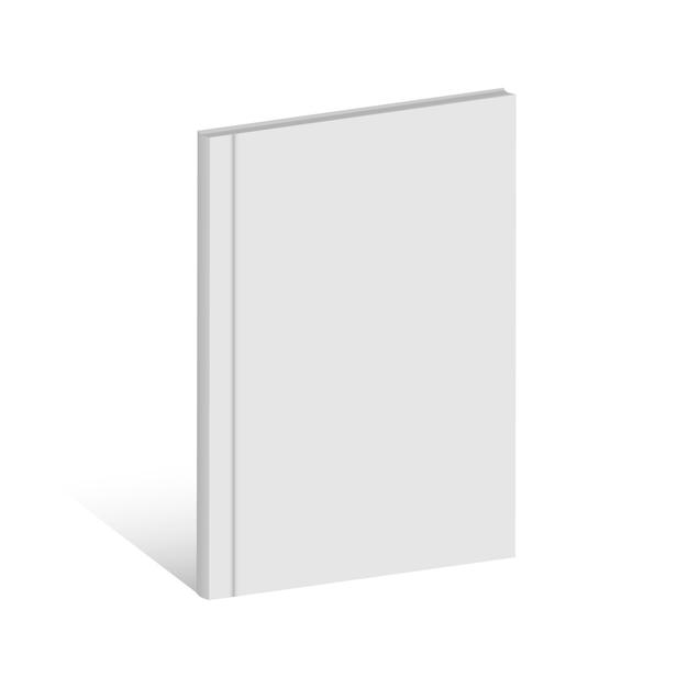 Biała realistyczna pusta książka, magazyn, broszura. Premium Wektorów