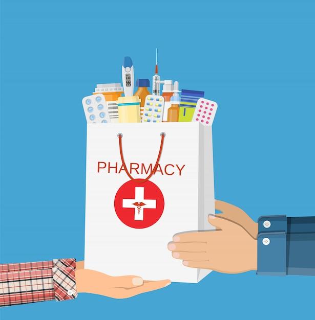 Biała Torba Na Zakupy Z Różnymi Tabletkami Medycznymi Premium Wektorów