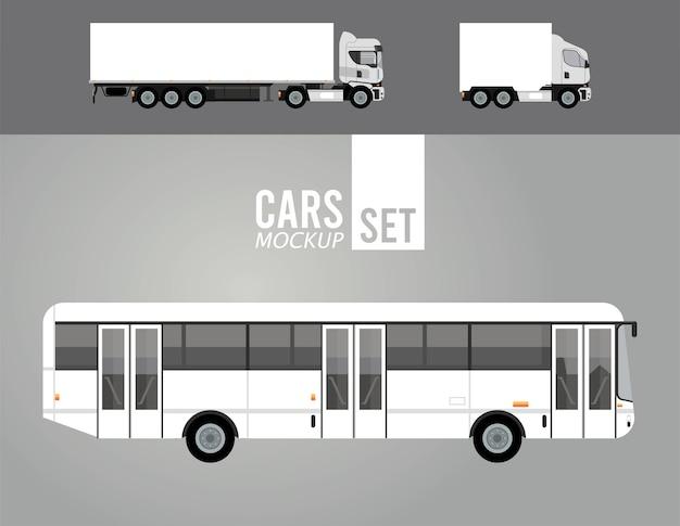 Białe Ciężarówki I Makieta Autobusów Samochody Samochody Premium Wektorów