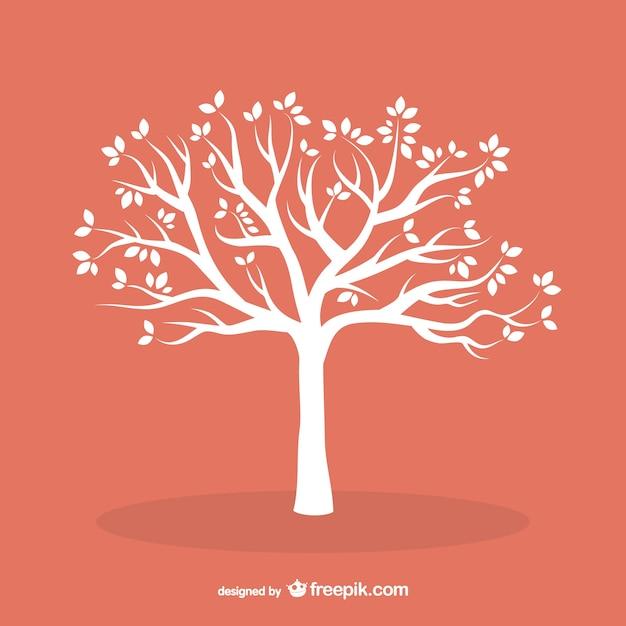 Białe drzewo z liści Darmowych Wektorów