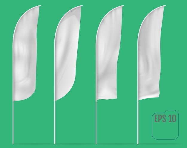 Białe Flagi Banner. Flagi Banerowe. Premium Wektorów