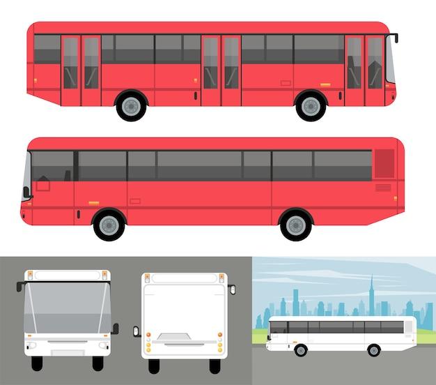 Białe I Czerwone Autobusy Makieta Samochodów Samochody Premium Wektorów