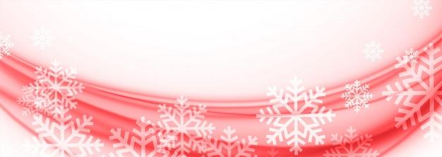 Białe I Czerwone Wesołych świąt Bożego Narodzenia Płatki śniegu Transparent Darmowych Wektorów