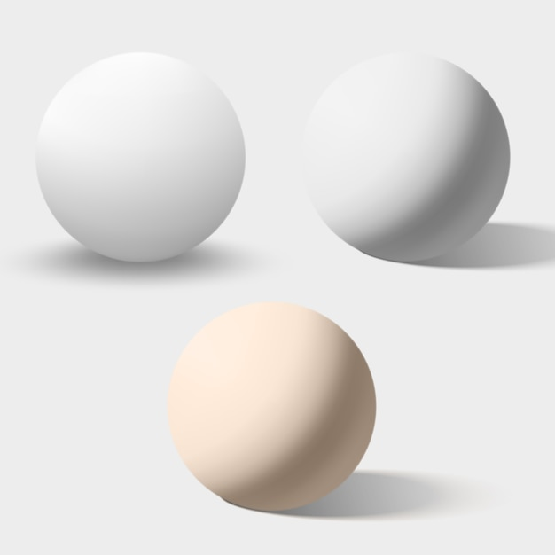 Białe i kremowe realistyczne kule na białym tle Premium Wektorów
