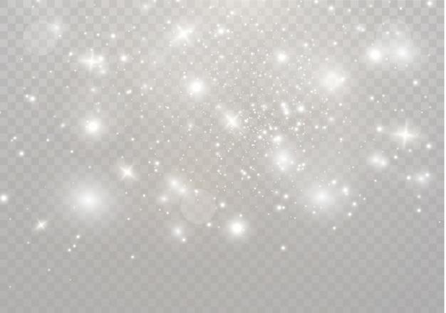 Białe Iskry I Złote Gwiazdy Błyszczą Specjalnym Efektem świetlnym. Błyszczy Na Przezroczystym Tle. Lśniące Magiczne Cząsteczki Pyłu. Premium Wektorów