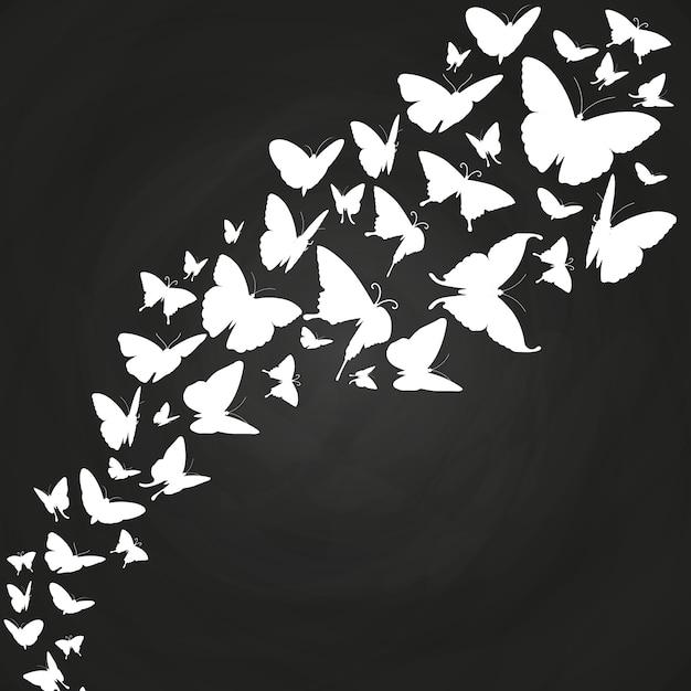 Białe Motyle Sylwetki Na Tablicy Premium Wektorów