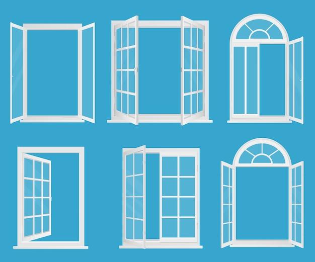 Białe Plastikowe Realistyczne Okna Z Przezroczystym Szkłem Premium Wektorów