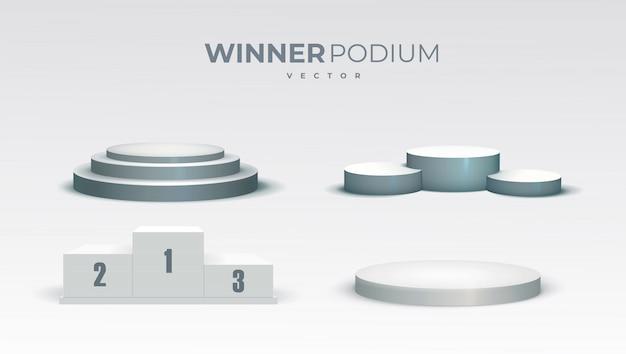 Białe Podium. Okrągłe I Kwadratowe 3d Puste Podium Z Kroków. Cokoły W Salonie, Platforma Na Podłodze Premium Wektorów