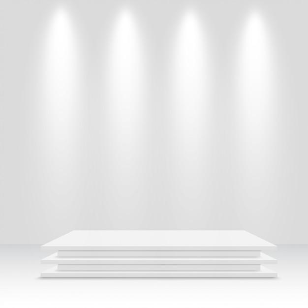 Białe Podium. Piedestał. Ilustracji Wektorowych. Premium Wektorów