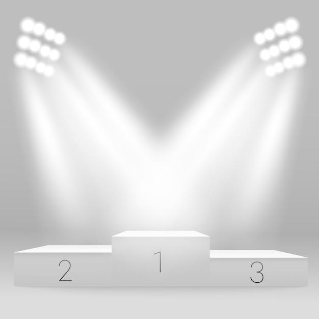 Białe podium sportowe podium. Premium Wektorów
