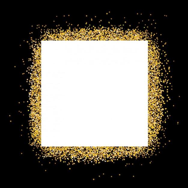 Białe Pole Tekstowe Na Złotej Ramce Z Brokatem I Czarnym Tle Premium Wektorów