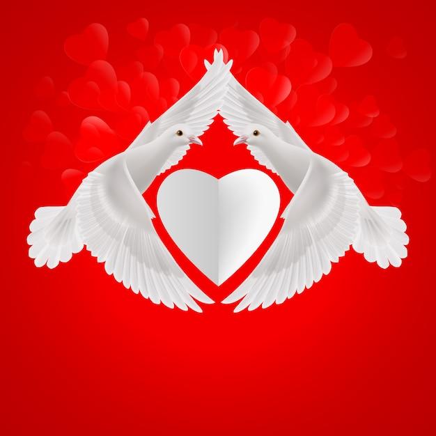 Białe Serce Między Dwoma Latającymi Białymi Gołębiami Premium Wektorów