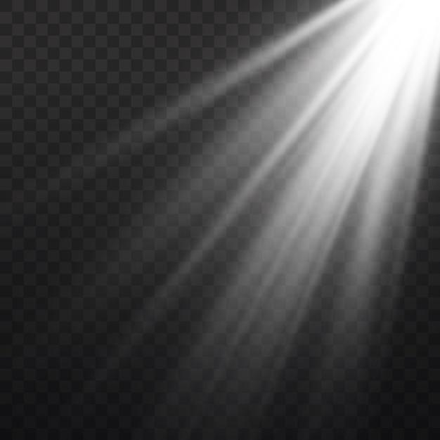 Białe światło Słoneczne Półprzezroczysty Specjalny Efekt świetlny. Na Białym Tle Przezroczyste Białe światło Słoneczne. Rozmycie W świetle Blasku. Premium Wektorów