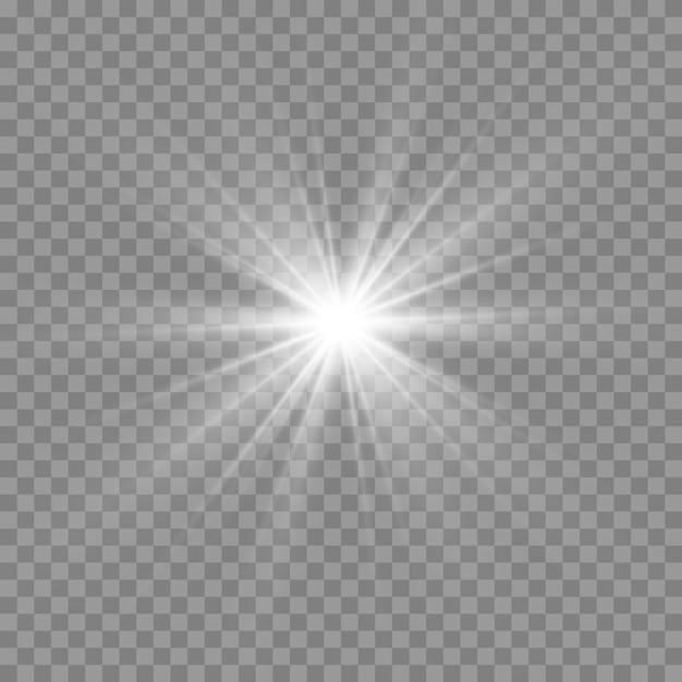 Białe świecące światło. Piękne światło Gwiazdy Z Promieni. Słońce Z Flarą. Jasna Piękna Gwiazda. Premium Wektorów