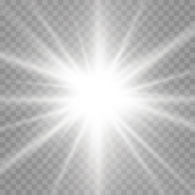 Białe świecące światło Rozbłyska Na Przezroczystym Tle, Jarzą Jasne Jasne Gwiazdy, Gwiazda Rozbłyskuje Blaskiem, Białe Promienie Słoneczne, Efekt świetlny, Blask Słońca Z Promieniami, Premium Wektorów