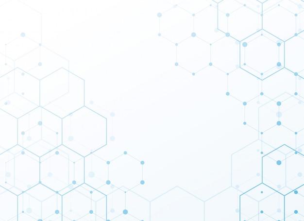 Białe tło z niebieskim technologią sześciokąta Darmowych Wektorów