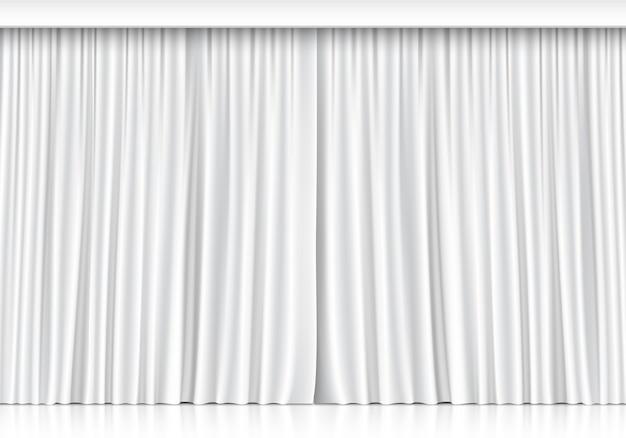 Białe Zasłony Na Białym Tle Premium Wektorów
