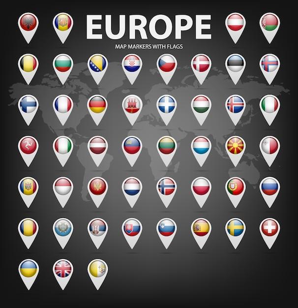 Białe Znaczniki Mapy Z Flagami - Europa. Premium Wektorów