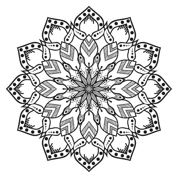 Biało-czarna Okrągła Mandala Premium Wektorów