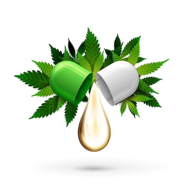 Biało-zielona Kapsułka Pigułki Z Kroplą Oleju Cbd I Zielonymi Liśćmi Konopi Na Białym Tle. Premium Wektorów
