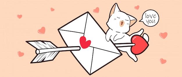 Biały Cas I List Miłosny Przeszyty Strzałą Miłości Premium Wektorów