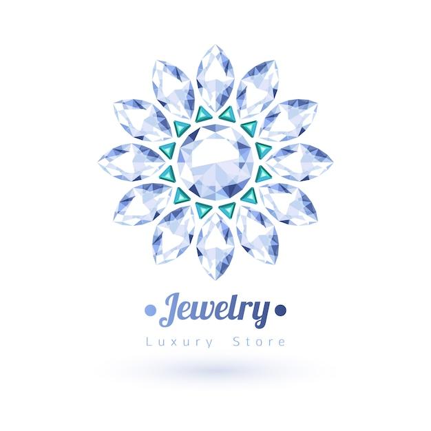 Biały I Zielony Symbol Biżuterii Kamieni Szlachetnych. Kształt Gwiazdy Lub Kwiatu. Szmaragdy I Diamenty Na Białym Tle. Premium Wektorów